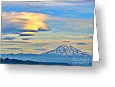 Lenticular Cloud And Mount Rainier Greeting Card by Sean Griffin