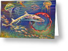 Leopard Shark And Jellyfish Greeting Card by Nancy Tilles
