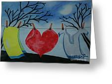 Lets Wash Heart Greeting Card by Jalal Gilani