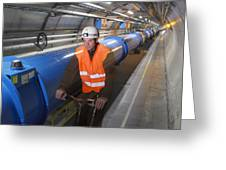 Lhc Tunnel, Cern Greeting Card by David Parker
