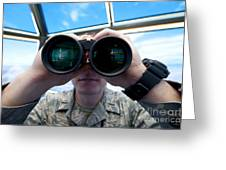 Lieutenant Uses Binoculars To Scan Greeting Card by Stocktrek Images