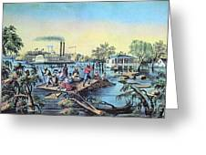 Life On The Mississippi, 1868 Greeting Card by Photo Researchers