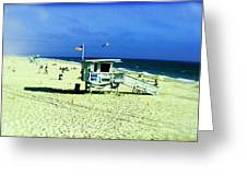 Lifeguard Shack Greeting Card by Scott Pellegrin