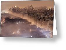 Light Pollution And Fog Combine To Blur Greeting Card by Jim Richardson