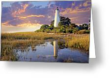Lighthous Reflection 1 Greeting Card by Marty Koch