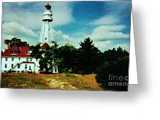 Lighthouse Off Lake Michigan Greeting Card by Marsha Heiken