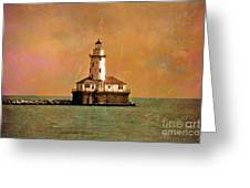 Lighthouse Off Navy Pier Greeting Card by Mary Machare