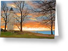 Lighthouse Sunset Greeting Card by Cathy Leite