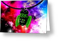 Lil Cthulhu Lovecraft Alien Cartoon Necklace Awake Greeting Card by Pet Serrano