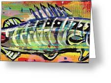 Lil' Funky Folk Fish Number Ten Greeting Card by Robert Wolverton Jr
