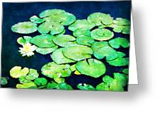 Lily Pads And Lotus Greeting Card by Tammy Wetzel