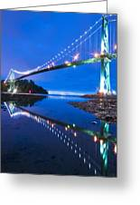 Lions Gate Bridge, Vancouver, Canada Greeting Card by David Nunuk