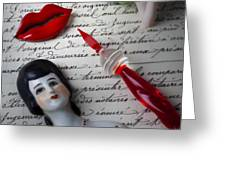 Lips pen and old letter Greeting Card by Garry Gay