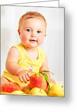 Little Baby Choosing Fruits Greeting Card by Anna Om