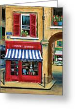 Little French Book Store Greeting Card by Marilyn Dunlap