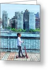 Little Girl On Scooter By Manhattan Skyline Greeting Card by Susan Savad