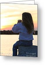 Little Girl Sitting On Rocks Greeting Card by Christopher Purcell