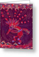 Little Kokopelli With Sash Greeting Card by Anne-Elizabeth Whiteway