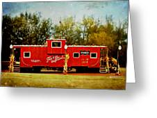 Little Red Caboose Greeting Card by Linda Deal