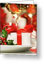 Little Red Ribboned Gift Greeting Card by Sandra Cunningham