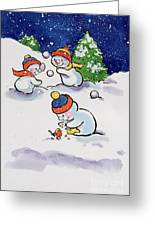 Little Snowmen Snowballing Greeting Card by Diane Matthes
