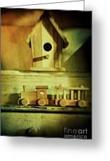 Little Wooden Train On Shelf Greeting Card by Sandra Cunningham