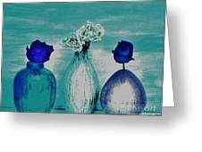 Littlle Vases Dried Roses Greeting Card by Marsha Heiken