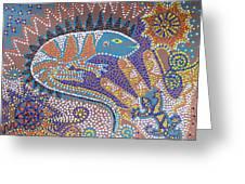Lizard Dreaming Greeting Card by Vijay Sharon Govender