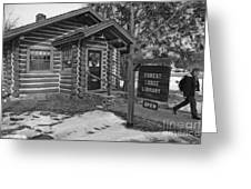 Log cabin library 11 Greeting Card by Jim Wright