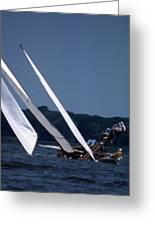 Log Canoe Race Greeting Card by Skip Willits
