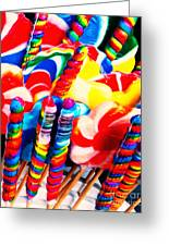 Lollipops - Painterly - Red Greeting Card by Wingsdomain Art and Photography