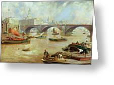 London Bridge From Bankside Greeting Card by Sir David Murray