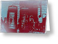 London Telephone Booth Greeting Card by Naxart Studio