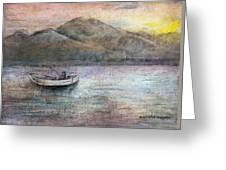 Lone Fisherman Greeting Card by Arline Wagner