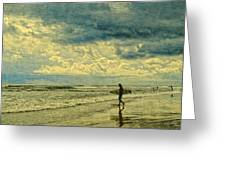 Lone Surfer Greeting Card by Barbara Middleton