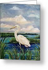 Lonesome Egret Greeting Card by Doralynn Lowe