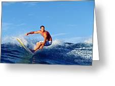 Longboard Surfer Greeting Card by Paul Topp