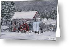Longfellow's Grist Mill In Winter Greeting Card by Jack Skinner