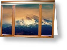 Longs Peak And Mount Meeker Wood Window View Greeting Card by James BO  Insogna