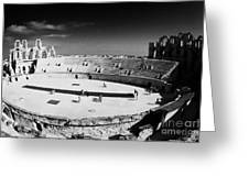looking down on main arena of old roman colloseum el jem tunisia Greeting Card by Joe Fox