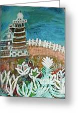 Lopsided Lighthouse Greeting Card by Anne-Elizabeth Whiteway