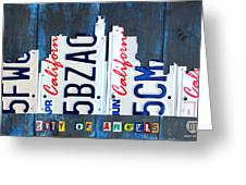 Los Angeles Skyline License Plate Art Greeting Card by Design Turnpike