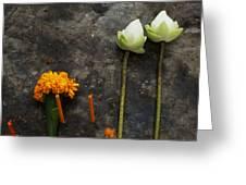 Lotus Flowers On A Thai Shrine Greeting Card by Paul Grand