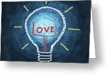 Love Word In Light Bulb Greeting Card by Setsiri Silapasuwanchai