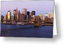 Lower Manhattan Skyline And Brooklyn Bridge At Dawn Greeting Card by Jeremy Woodhouse