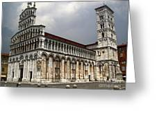 Lucca Italy - San Michele In Foro Greeting Card by Gregory Dyer