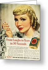 Luckys Cigarette Ad, 1938 Greeting Card by Granger
