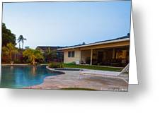 Luxury Backyard Pool And Lanai Greeting Card by Inti St. Clair