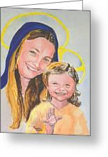 Madonna And Child Greeting Card by Susan  Clark