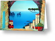 Magnificent Capri Greeting Card by Larry Cirigliano